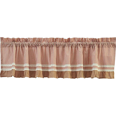 Primitive French Country Chic Shabby RED TICKING Burlap Lace Curtain Valance