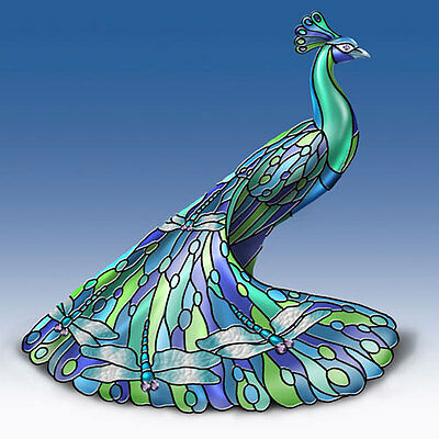 DELIGHTFUL DRAGONFLY Louis Comfort TIFFANY-Style PEACOCK Figurine NEW