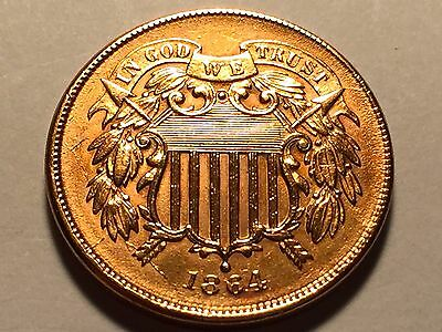 1864 Two Cent Piece  * Choice BU Red #2 *