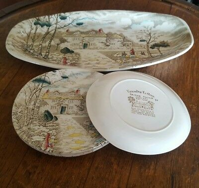 British Anchor 7 Piece Sandwich Set Serving Plate and 6 Matching Side Plates