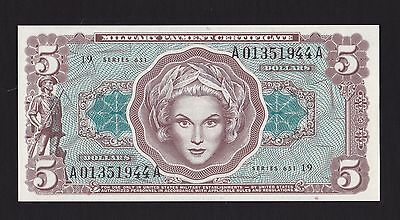 $5 Series 651 Military Payment Certificate - Unc.