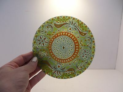 Mid-Century Modern vibrant lime orange turquoise designed reverse painted glass