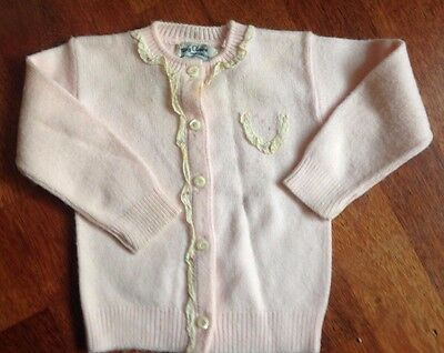 Vintage Baby Girl's Pink May Claire Dupont Orlon Pink Knit Button Up Sweater