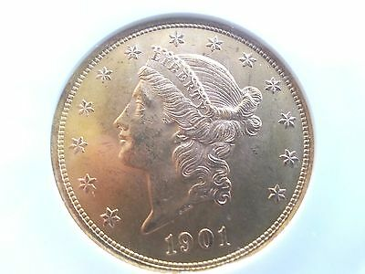1901P  $20 Liberty NGC MS63 Low Mintage (111.4K) Sleeper PQ Luster & Quite Clean