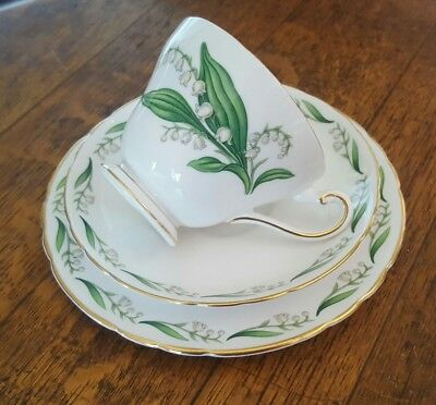 Tuscan Fine Bone China Footed Trio Maytime Lily of the Valley