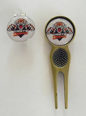 2 Only Wests Tigers Golf Ball Markers, Divot Tool &  Hat Clip