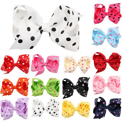 10pcs Baby Kids Girl Infant Toddler Polka Dot Bow Hair Clip Hairpins Accessories