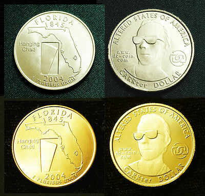 2000 Altered East Virginia State CARRter Dollar by Daniel Carr Brass BU Free S&H