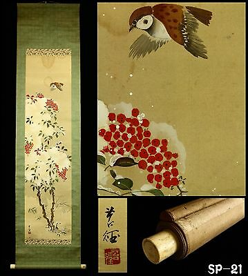 """Sparrow and Nandin Tree"" Hanging Scroll -Japan- Taisho Period"