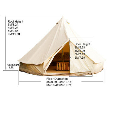 3/4/5/6M Safari Tents Bell Tent Waterproof Canvas Glamping Camping Outdoor Tents