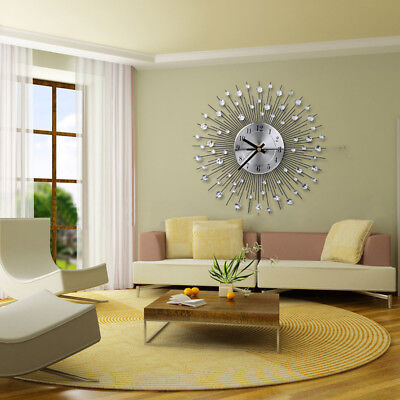 33cm Handcrafted Diamante Beaded Crystal Jeweled Sunburst Silver Wall Clock NEW