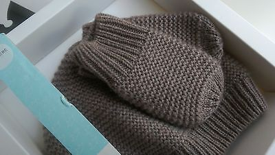 NEW Marks and Spencer Taupe Cashmere Blend Hat & Mittens Set