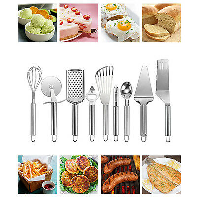 Portable 9 Piece Stainless Steel Cooking Utensil Set Home Kitchen Gadget Tools