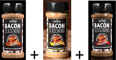 Bacon  + Cheesy Bacon + Smoky BBQ Bacon Seasoning Combo  - Now from SIR BBQ