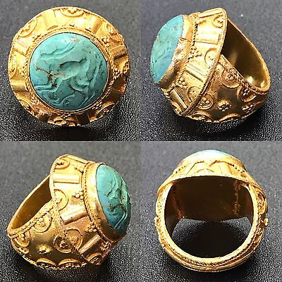 Wonderful Silver Gold Gilded Silver  turquoise Stone Ring