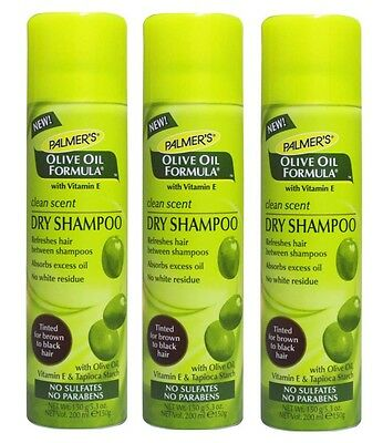 3 x PALMER'S 150g OLIVE OIL DRY SHAMPOO CLEAN SCENT-TINTED FOR BROWN TO BLK HAIR