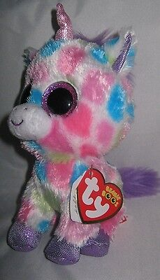 TY BEANIE BOO - WISHFUL THE UNICORN (15cm) WITH RED TY TAG - NEW - RARE/RETIRED