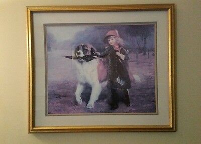 "Charles Burton Barber Painting Victorian Girl & St. Bernard Dog ""Off To School"""
