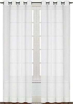 Window Curtain White Sheer Voile 2 Panel Set 52 by 84 Inches By Utopia Bedding