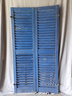 Pair Antique Window Wood Louvered Shutter Shabby Old Chic Vintage 60X13 55-17P