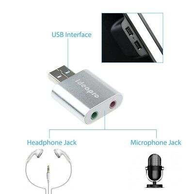 IDEAPRO USB Aluminum External Stereo Sound Adapter with 3.5mm Speaker/Headphone