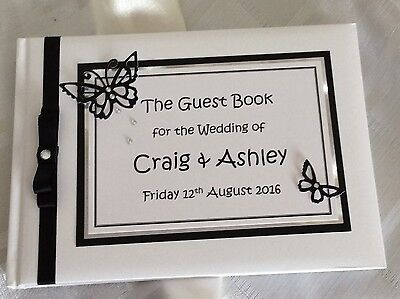 Guest Book Personalised - Wedding Engagement Party Handcrafted   - Butterfly