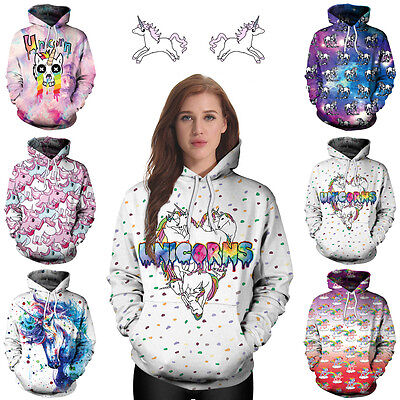 Womens Ladies Cute Unicorn Magical UK Autumn Winter Hoodie Sweatshirt Tracksuit