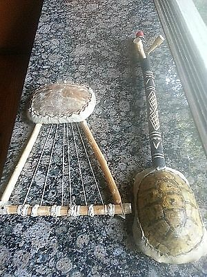 Native American Indian Inspired Hand Made Turtle Shell Guitar & Animal Hide Lyre