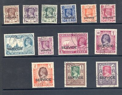 Burma Sg 028-40  1946 Overprint Set. Very Fine Used