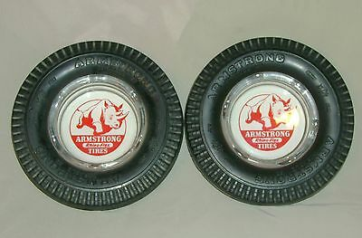 Vintage Armstrong RHINO FLEX TIRE ASHTRAY lot of 2 pair tires rubber glass EXC