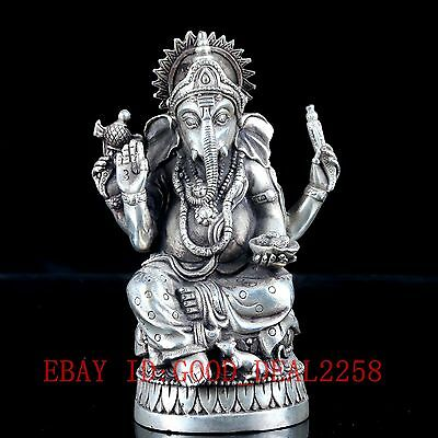 """Old Crusted Silve Copper Hand Carved, """"India Geneisha"""" Statue"""