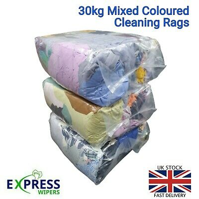 3 x 10 KG BAG OF MIXED COLOURED CLEANING RAGS ONLY £24.99
