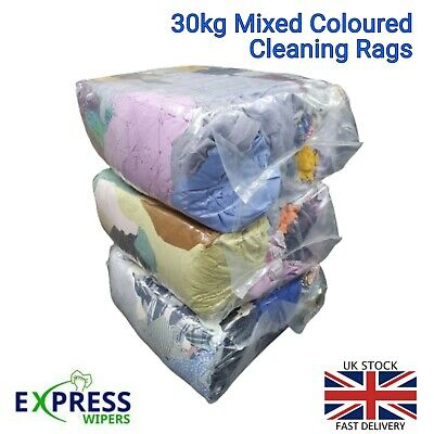 3 x 10 KG BAGS OF MIXED COLOURED CLEANING RAGS / WIPERS / CLOTHS ONLY £26.99