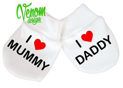 I LOVE MUMMY DADDY MITTENS alternative baby clothes girl boy newborn scratch fun