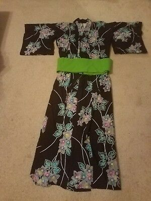 Full Length Robe/Kimono with Belt Size L Black Green Cotton Floral 3/4 Sleeve