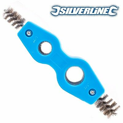 SILVERLINE PIPE CLEANER & DEBURRER 15mm/22mm Copper/Metal Tube Deburr Brush