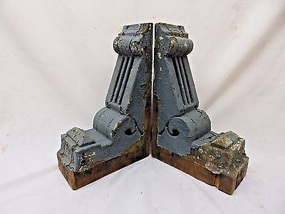 Antique Pair Wood Corbels Bookend Shabby Cottage Chic Gingerbread Vtg 453-17P