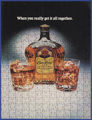 Vintage 1982 CROWN ROYAL Canadian Whisky Alcohol Jigsaw Puzzle Print Ad 80's