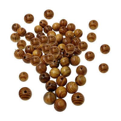 100x Natural Striped Wood Beads for Jewelry Making Charms Kids Crafts 14mm