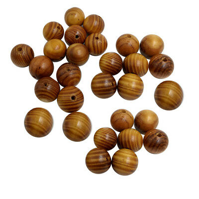 50x Natural Striped Wood Beads for Jewelry Making Charms Kids Crafts 20mm