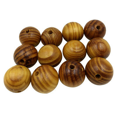 12x Natural Striped Wood Beads for Jewelry Making Charms Kids Crafts 30mm