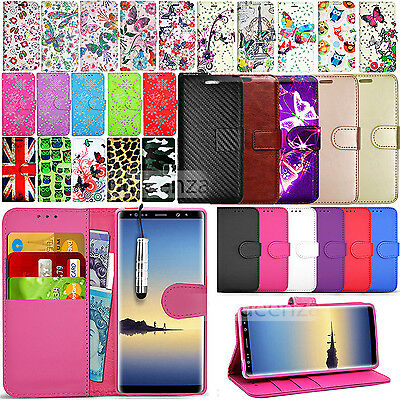 For SAMSUNG GALAXY NOTE 8  -Wallet Leather Case Flip Cover + Screen Protector