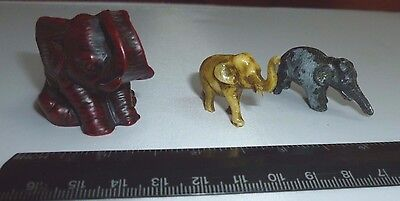 Lot of 3 Old Miniature Elephant Figurines Collector's Items