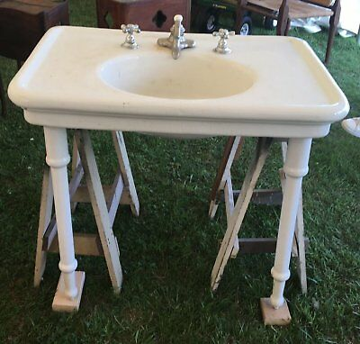 Antique Earthenware Pottery Console Sink Cast Iron White Porcelain Legs 527-17E