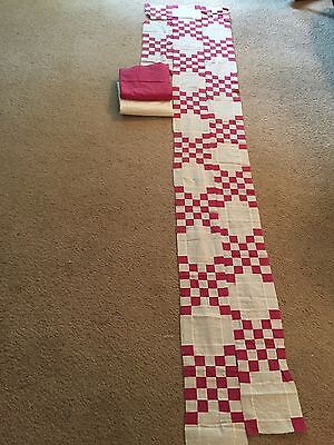 Vintage Fabrics in pink and white and unfinished quilt pieces