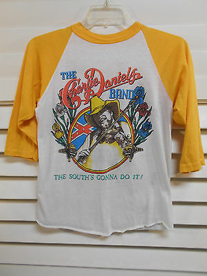 Vintage 1970's CHARLIE DANIELS BAND T-SHIRT The South's Gonna Do It 3/4 Sleeve