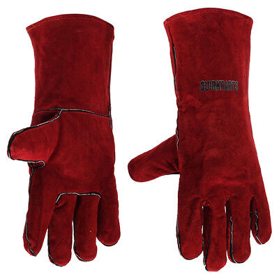 "QuirkParts Welding Gloves 14"" Red Cow Split Full Sock Lining Protection Quality"