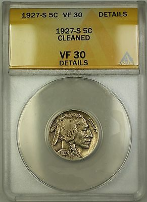 1927-S Buffalo Nickel 5c ANACS VF-30 Details Cleaned (Better Coin)