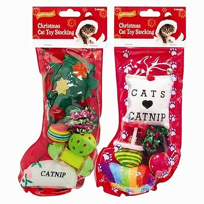Christmas Cat Stocking - Christmas Gift for your Cat or Kitten Contains 6 Toys