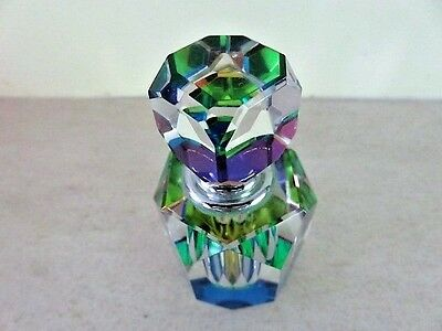 Faceted Glass Perfume Bottle. Screw Top. Rainbow Effect